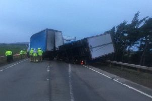 Two HGVs had blown over on the A1 earlier this morning