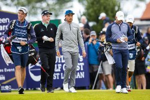 Rickie Fowler, centre, is flanked by Bob MacIntyre and Rory McIlroy in their headline group at this year's ASI Scottish Open. Picture: Bruce White/SNS