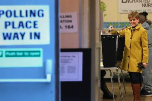 SNP leader Nicola Sturgeon casts her vote in the 2019 General Election at Broomhouse Park Community Hall. Picture: PA