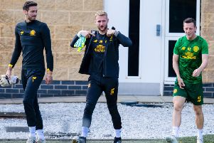 Craig Gordon, pictured during training at Lennoxtown, could depart Celtic in January