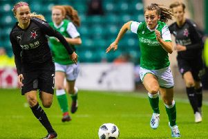 Jamie-Lee Napier in action for Hibs Ladies against Slavia Prague in the UEFA Women's Champions League