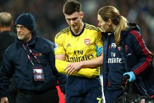 Kieran Tierney dislocated his shoulder playing for Arsenal against West Ham. Picture: Getty Images