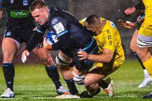 Glasgow back-row Matt Fagerson was red carded in a dramatic finish on a miserable night at Scotstoun. Picture: SRU/SNS