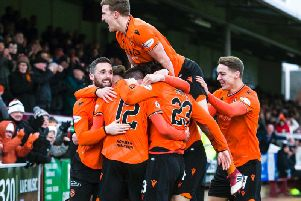 Dundee United players celebrate Sam Stanton's goal. Picture: SNS