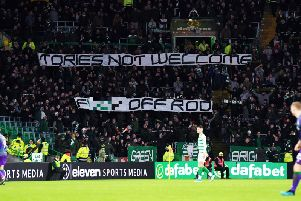 The Celtic fans make their feelings known