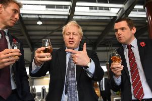 Douglas Ross (right) with Boris Johnson during the general election campaign