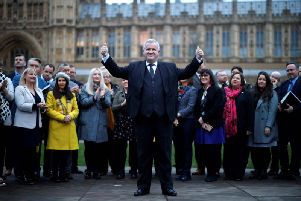 Ian Blackford celebrates with the SNP group of MPs at Westminster