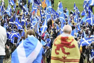 Scottish independence supporters gather in Holyrood Park during a rally in October. Picture: Lisa Ferguson