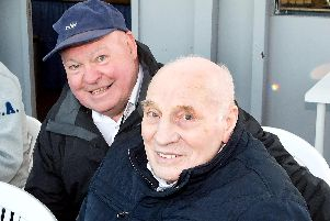 Doug Templeton (right) pictured with referee Jim McGregor at the Edinburgh Monarchs' 70th anniversary meeting in 2018. Picture: Ron MacNeill