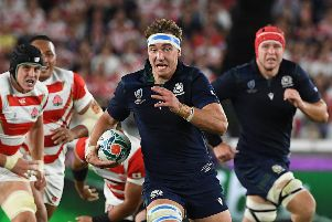 Flanker Jamie Ritchie runs with the ball during Scotland's World Cup defeat by Japan, arguably the best game of the tournament. Picture: William West/AFP via Getty Images