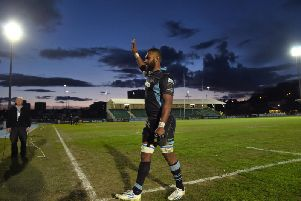 Leone Nakarawa salutes the Glasgow Warriors fans during his previous spell at Scotstoun