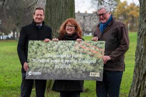 Confor CEO Stuart Goodall (left), SNP MP for Edinburgh North and Leith Deidre Brock and Scottish Government Cabinet Secretary for Rural Economy, Fergus Ewing MSP, pledge to plant 36 million trees annually by 2030.