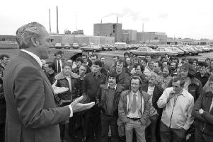 David Lambie addresses workers outside the Monsanto factory at Dundonald in May 1979 (Picture: Allan Milligan/TSPL)