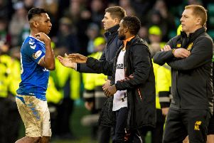 Alfredo Morelos gestures to fans as he is sent off during the latest Old Firm clash with Celtic.  Photograph: Craig Williamson/SNS