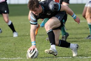 Scrum-half George Horne touches down after half an hour for his first try. Photograph: David Gibson\Shutterstock.