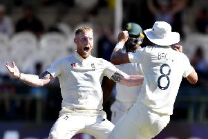 Ben Stokes celebrates taking the wicket of South Africa's Anrich Nortje. Picture; Ashley Vlotman/Gallo Images/Getty