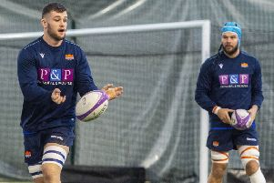 Magnus Bradbury, left, trains at Oriam yesterday having committed his future to Edinburgh. Picture: SNS/SRU.