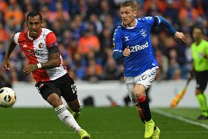 Renato Tapia in action for Feyenoord against Rangers at Ibrox