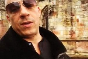 Hollywood star Vin Diesel at Rosslyn Chapel during a break from Fast and Furious 9.
