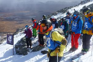 Competitors prepare to tackle the Spring Run at the 2019 Coe Cup freeride contest at Glencoe. PIC: 'Iain''Ramsay-Clapham