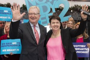 Scottish Tory leadership contender Jackson Carlaw and ex-leader Ruth Davidson at an election rally last month (Picture: Jane Barlow/PA Wire