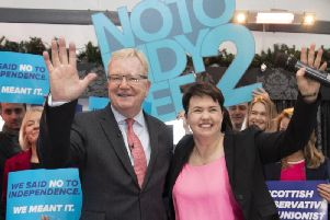 Jackson Carlaw and Ruth Davidson attend a Tory rally. Picture: JPIMedia.