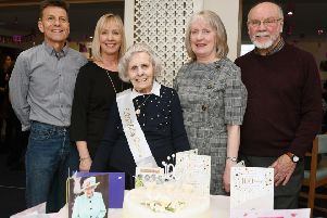 100-year-old Kathleen Cunningham pictured with her son in law, Gordon McKenzie; daughter, Jill McKenzie; daughter, Pamela Dick; and son in law, Raymond Dick.