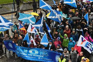 A mass pro-independence march makes its way through Charing Cross in Glasgow on Saturday. Picture: John Devlin
