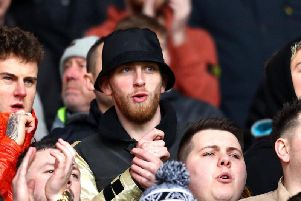 Oli McBurnie is seen among the Swansea fans at the south Wales derby on Sunday