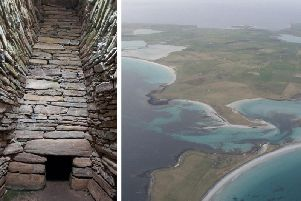 The Quoyness chambered cairn (left) on the Orkney isle of Sanday is one of the sites to be examined by archaeologists and islanders. PIC: Antonia Thomas/www.geograph.org.