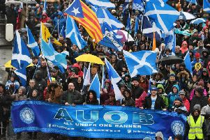 Organisers claimed 80,000 took part at Saturday's All Under One Banner event in Glasgow. Picture: John Devlin