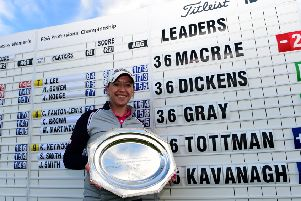 Heather MacRae poses with the trophy after winning the Women's PGA Championship for a second time in May 'last year
