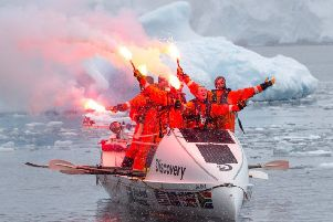 Jamie Douglas-Hamilton's crew became the first to row from Cape Horn in Chile to Antarctica. Picture: Discovery