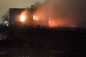 School fire: Fire crews spent the night tackling flames at a derelict school building in Glasgow    picture: STV News