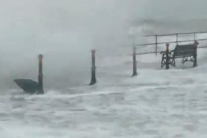 Waves batter Whitehead, County Antrim, N.Ireland as Storm Brendan sweeps across Ireland and the UK with winds gusting up to 80mph. Picture: SeaSugar Confectionery/PA Wire