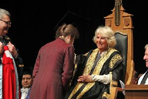The Duchess of Rothesay, presents an honorary degree to her sister-in-law the Princess Royal at the University of Aberdeen. Picture: Andrew Milligan / PA Wire