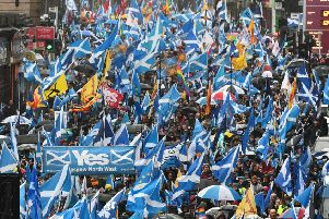The All Under One Banner march in Glasgow earlier this month was a sea of Saltires (Picture: John Devlin)