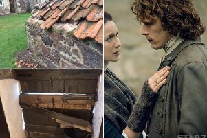Vandals struck Preston Mill's historic roof and door. Outlander star Sam Heughan recently praised a fundraising effort to repair the mill's wheel. Picture: National Trust / Starz