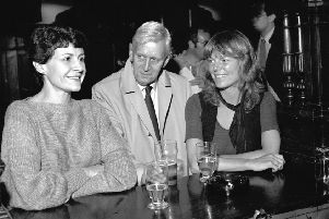 Two stars of The Archers pictured in 1983: Sarah Conrad (voice of Caroline Bone) and Jack May (Nelson Gabriel) with Desi Angus, who played Jenny Stewart in BBC Radio Scotland's Kilbreck show