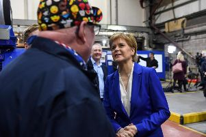 Nicola Sturgeon visits the Star Refrigeration factory in Glasgow to announce her latest initiatives to tackle climate change. Picture: Getty
