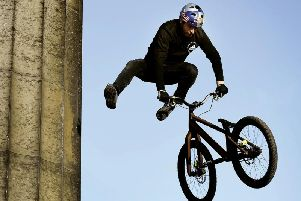 Danny MacAskill celebrates ten years at the top on Calton Hill, Edinburgh
