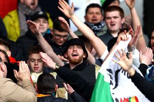 Sheffield United's Ollie McBurnie in the Swansea City end. Picture: Michael Steele/Getty