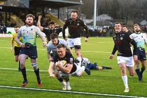 Southern Knights centre Tom Galbraith dives over for a try in a high-scoring Greenyards clash. Picture: Paul Devlin/SNS/SRU