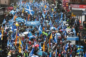 Independence supporters march through Glasgow earlier this month. Picture: John Devlin