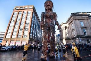 Scotland's largest puppet, Storm, makes its first public appearance in Glasgow as part of the Celtic Connections festival.'' (Picture: John Devlin)