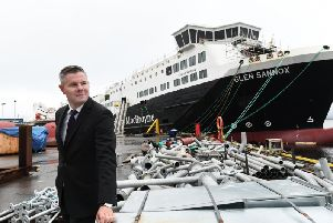 Finance secretary Derek Mackay visiting the Port Glasgow yard last August. Picture: John Devlin