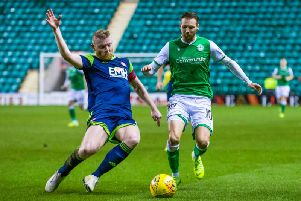 Hibs winger Martin Boyle, right, in action against Hamilton Accies. Picture: SNS