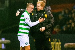 Neil Lennon with Leigh Griffiths after the striker was substituted. Picture: SNS