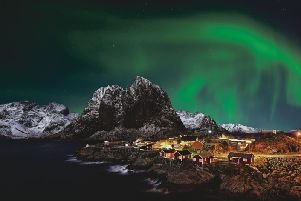 The elusive Northern Lights, which can be seen if conditions are good, while sailing the Norwegian coastline