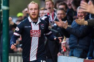 Liam Boyce celebrating a goal for Ross County.